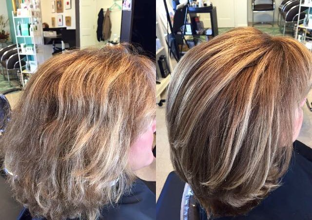 womens beautiful before and after color and highlights