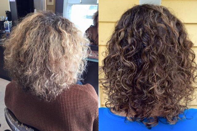 womens beautiful curly before and after cut and color